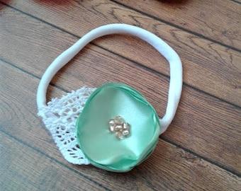 Mint nylon baby headband, flower headband, baby headband, baby head bands, infant headbands, toddler headband, new baby girl gift.
