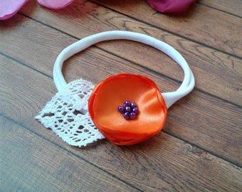 Orange nylon baby headband, flower headband, baby headband, baby head bands, infant headbands, toddler headband, new baby girl gift.