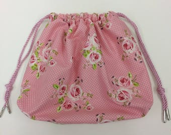 Pink with Flowers Cosmetics/Toiletries Drawstring bag. Ideal gift.