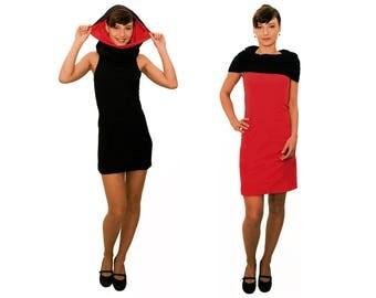 Designer dress, red dress, Figurbetont, LASALINA, slim fit, Colar, comfortable, organic cotton, vegan