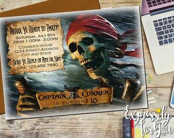 Pirates of the Caribbean Invitation, Pirates Invitations, Dead Men Tell No Tales Invitation, Pirates of the Caribbean Birthday, Pirate Party
