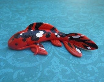 Black, White and Orange Koi Fish Polymer Clay Sculpture