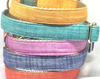 Adjustable dog collar, solid color, linen, fabric, classic, red, blue, pink, orange, metal buckle, high quality, classic, plain