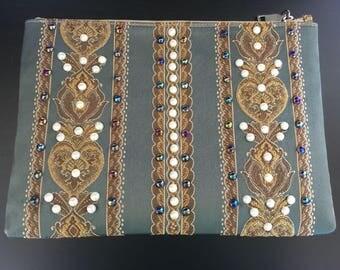Cadiz  Handmade Clutch with Pearls - Chocolateandpearls