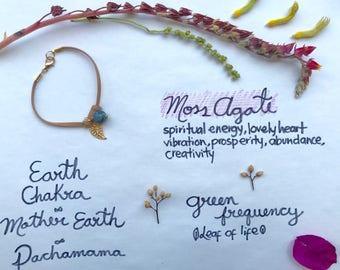 Bracelet Handmade Moss Agate and leaf Crystal  boho jewelry /
