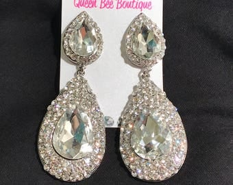 Crystal Clear Chandelier Earrings Pageant Earrings