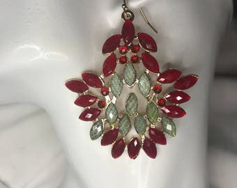 Gorgeous Green and Dark Red Holiday Earrings