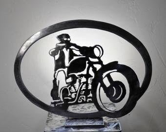 lampe silhouette de moto  en métal vernis avec ruban LED