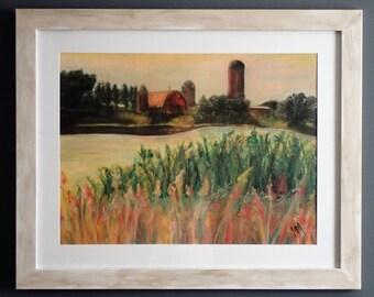Farm in the Distance - ORIGINAL Pastel Landscape Painting