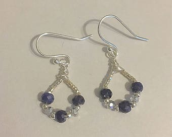 Blue sapphire and crystal earrings