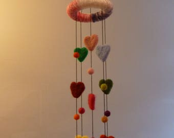 Nursery decoration, heart mobile, baby shower, needle felted hearts, hearts hanger, bedroom decoration, hanging decoration, baby mobile,