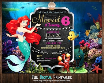 Mermaid invitation Etsy