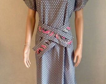 Grey small print black and white cotton dress 38/40/42/44/46/48/50/52