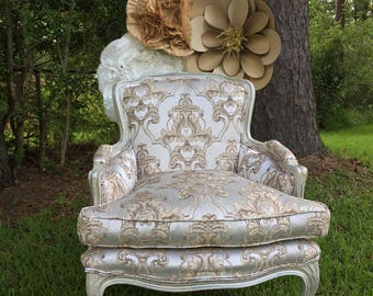 SOLD! French White/Silver/Gold Velvet Glam Vintage Regency Upholstered White Chair Gold Damask Bedroom or Living Room Small Accent Chair-