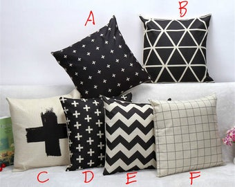 Black White Geometric Designs Printed Square Throw Pillow Covers Pillowcases Cushion Cover for Home