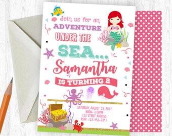 Mermaid Birthday Invitation, Mermaid Invitation, Mermaid Invite, birthday invite, Birthday Party, Printable Invitation, Mermaid