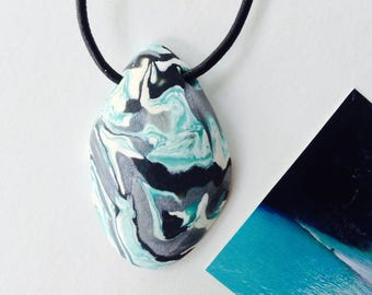 WATER 120 Nature Elements Necklace Unique Handmade Artistic Pendant Stone Adjustable Leather Cord Perfect Gift for Her