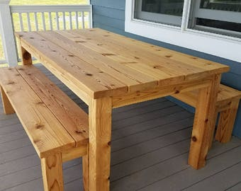 Outdoor Cedar Picnic Table Set
