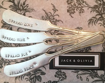 Vintage Silver Plate Spreader Knife Set - Hand stamped - Set of four (4) - Love HOPE Joy PEACE