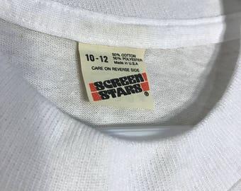 Vintage Screen Stars unisex youth 50/50 blend paper thin blank deadstock t-shirt kids white