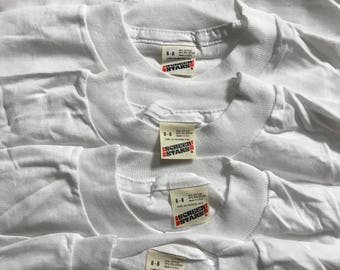 Lot of 5 Vintage Screen Stars youth SHIRT // 50/50 blend paper thin // blank deadstock t-shirt // kids 6-8 white //