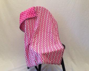 Handmade Baby Blanket  - Pink and Gray Baby Blanket - Baby Girl Baby Blanket - Chevron Baby Blanket - Baby Blanket Baby Shower Gift