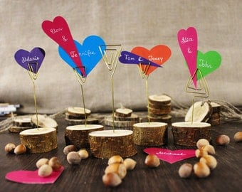 10 Rustic Name/Place Card Holders, Wood Wire Swirl, Name Tag Table Number, Rustic Wedding Decor, Woodland Decoration Valentines Party Bridal