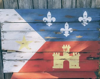 Rustic Acadian Flag. Louisiana. Distressed Pallet Wood. Cajun. Acadiana. Louisiana Decor.