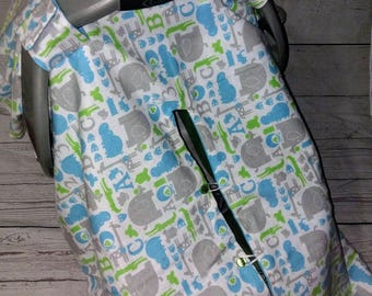 ABC & Zoo Animals Car Seat Canopy With Opening/Nursing Cover