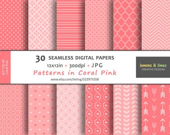Patterns in Pink - Digital Papers - JPG-300dpi-12x12in - Backgrounds, Scrapbook, Patterns, pattern-SET-136-color-ID-09-Pink, salmon pink