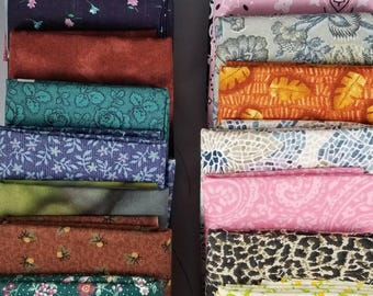 Free Ship! 20 Pre-cut Assorted Fabrics fat quarters