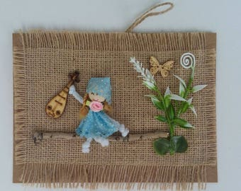 Wall panel with burlap and doll, Decor, Gift, Card, Baby
