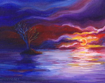 Fantasy Art, Printable art, Fantasy Landscape, Art Landscape, Fantasy print, Print Landscape, Digital print, Sunset landscape