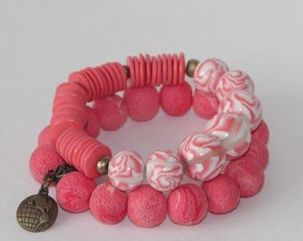 Earrings & bracelet set polymer clay, hadgefertigt