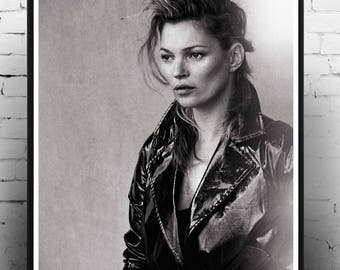 Kate Moss Leather Jacket , Fashion Print, Home Decor, Print, Wall Art, Gift, Fashion Photography
