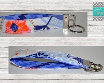 Floral/Orange/Periwinkle/Blue/Pink Keychain, Key Fob, Wristlet Keychain, Wristlet Key Fob
