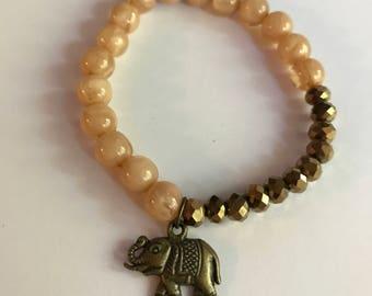 Elephant Charm Peach and Bronze Beaded Bracelet