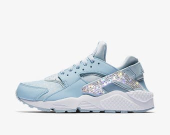 Crystal Bling Nike Air Huarache Shoes with Swarovski Crystals Women's Running Shoes Light Armory Blue