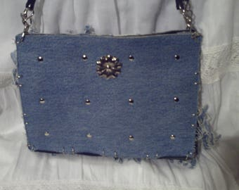 Small bag of denim and faux leather