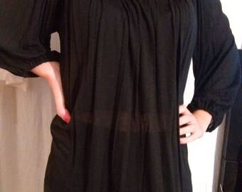 Tunic long sleeve black viscose
