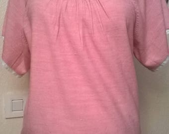 Pink sweater short sleeve cotton and acrylic color