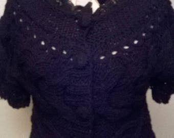 Cardigan in chunky knit black