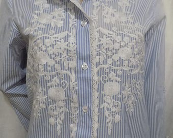 Cotton striped blue and white lace long sleeve shirt