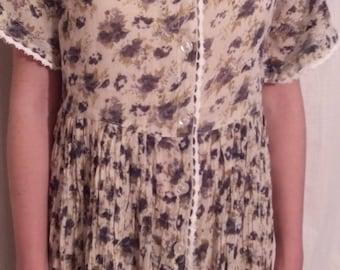 Multicolored printed cotton voile dress