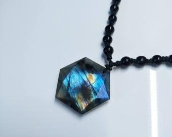 Natural Moonstone Sunstone Labradorite pendant/ 12 faceted single point/ Pendulum Divination devotional meditation