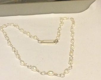 Necklace, silver and pearls