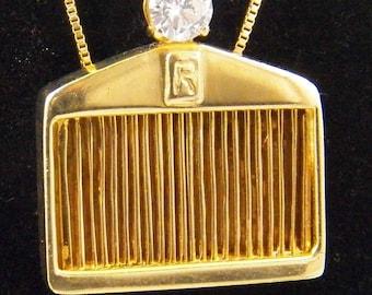 14k Yellow Gold Rolls Royce Pendant with 0.63 Carat Quality Diamond, Rolls Royce Grill, Gem Diamond, Vintage, Estate, Antique,