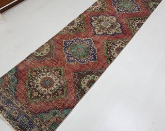 Hallway Runner Vintage Runners Turkish Runners Oushak Runners Hallway Runner rugs,oushak runner rugs,turkish runner rugs 2'11' x 12'2'RUNNER