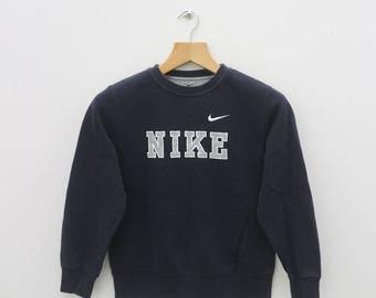 Vintage NIKE Big Logo Sportswear Black Sweater Sweatshirt Size M