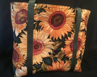 Sunflowers- Functional, Multiple Use, Fully Lined Cotton Tote Bags